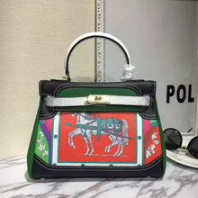 Luxury Paris France Brand Women Genuine Cow Leather Handbag Horse Print Graffiti Platinum Bag Famous Designer