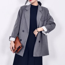 White Suit Women Blazer 2018 Office Lady Autumn Double Breasted New Korean Slim Fashion Long Blazers and Jackets Plus Size