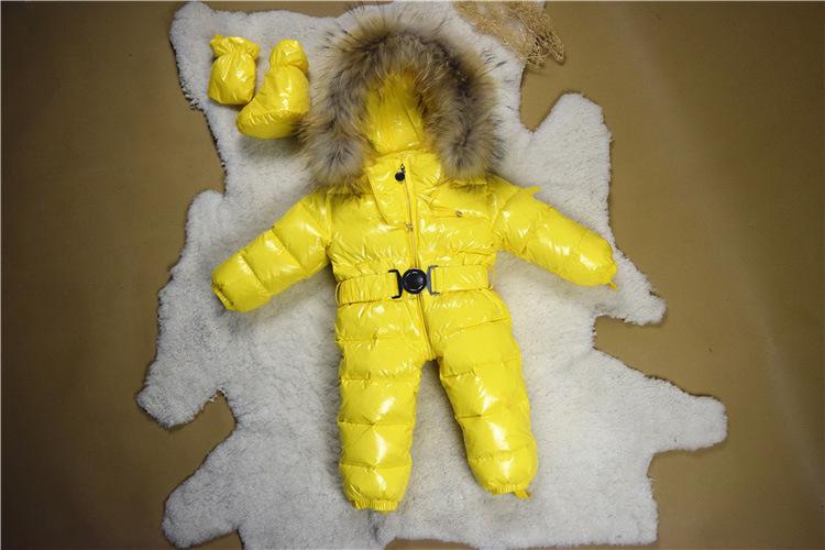 a111127caeca Winter European Style Newborn Baby Snowsuits Luxury White Raccoon ...