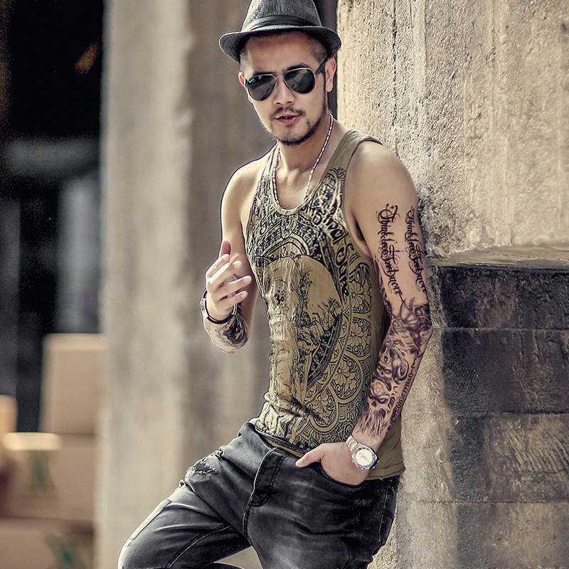 retro blue elephant printed men 's casual vest male cotton sleeveless   tank     tops   bodybuilding   tank     top   men summer T680-1