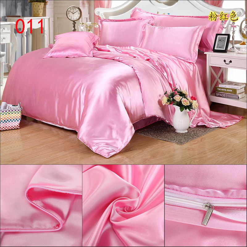 pink tribute silk duvet cover twin full queen king 150x200cm 200x230cm 220x240cm quilt cover. Black Bedroom Furniture Sets. Home Design Ideas