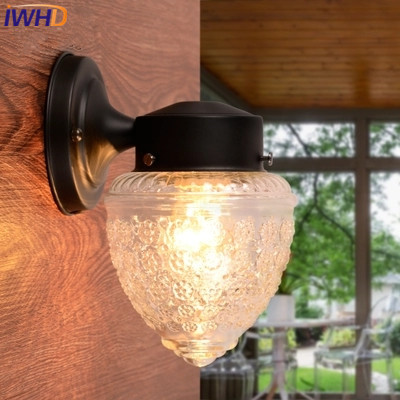 IWHD Balcony Iron Sconce Modern Wall Lamp Glass Ball Waterproof Wandlamp Courtyard Aisle LED Wall Light Arandela Para Parede led outdoor wall sconce wall mounted lamp garden porch light bedside lamp balcony sconce aisle light vintage wall sconces