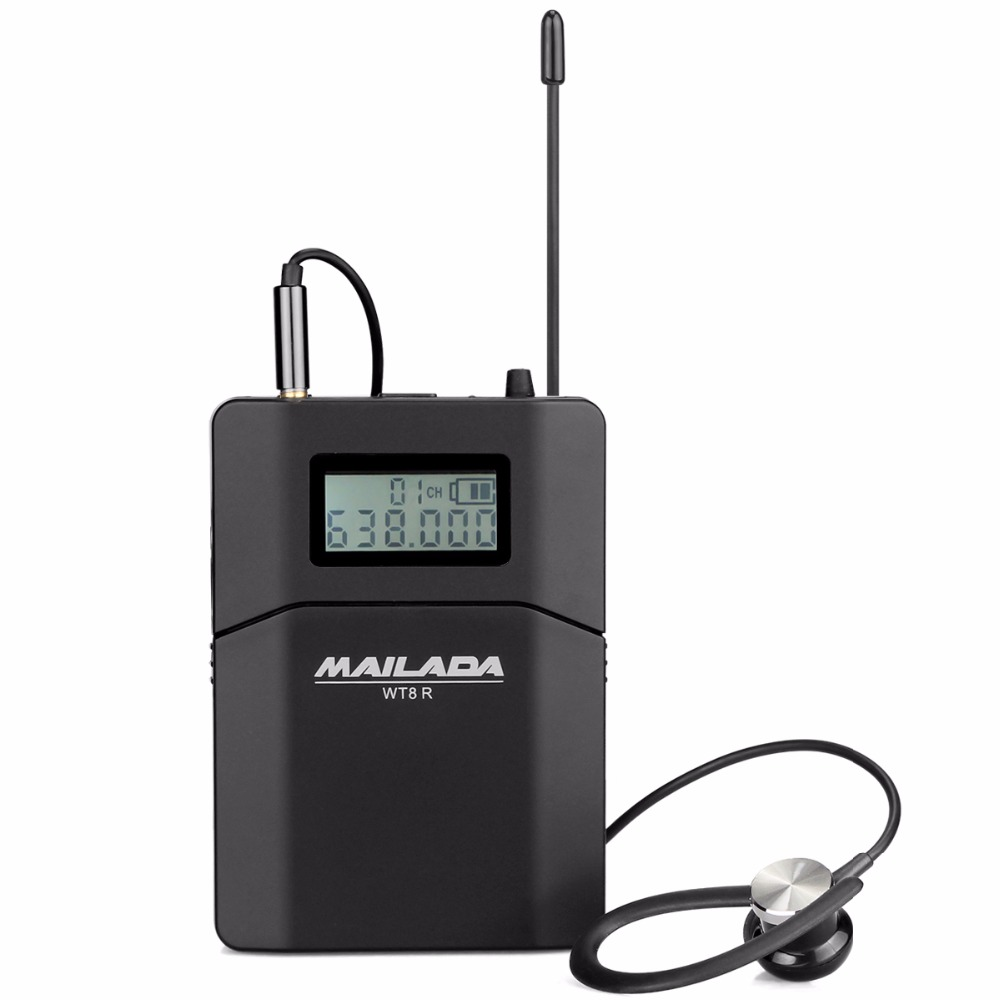 MAILADA WT8-R UHF 638-648MHz Wireless Receiver For Tour Guide System/Simultaneous /Meeting/Church/Wireless Teaching F1433A anders uhf wireless transmitter 200 channels for tour guide system wireless meeting church simultaneous interpreting f4521a