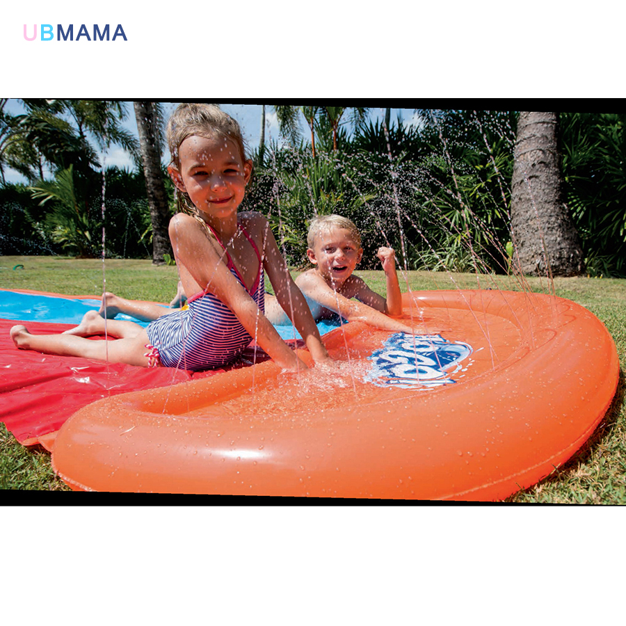 Haute qualité double de luxe toboggan parc aquatique en plein air plage jouets toboggan gonflable lit enfants jouer avec des jouets de l'eau