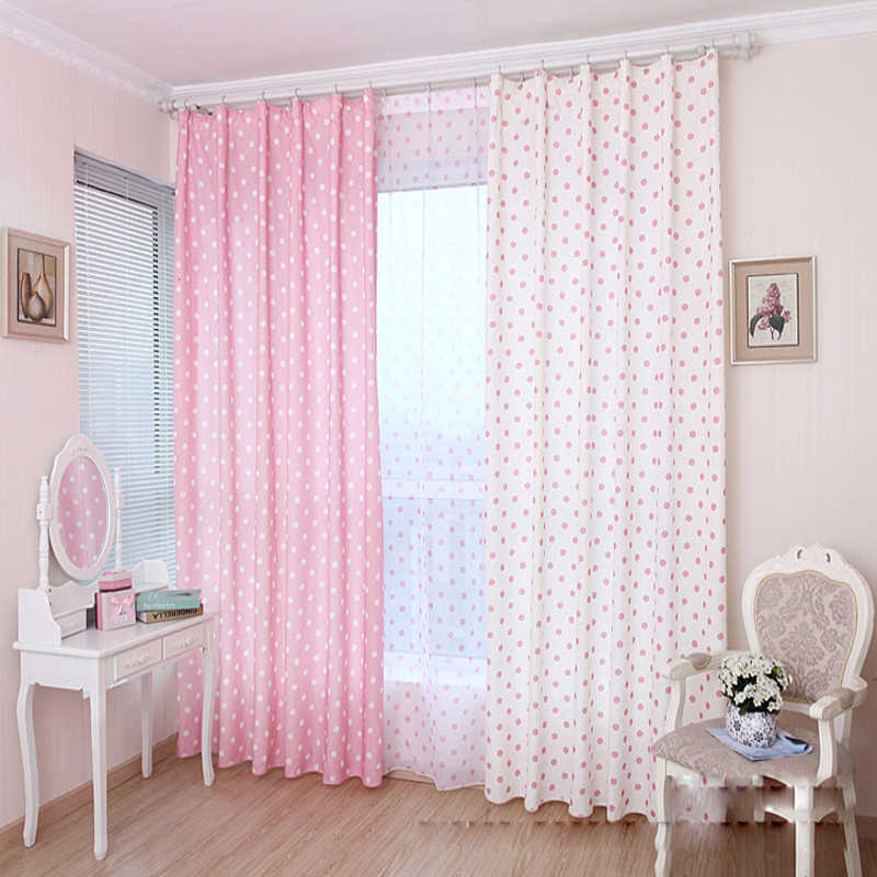 Small Dot Pattern Curtains Korean Fresh Semi Shade Curtains Kids Girls  Bedroom Curtains Cloth Tulle Custom Made T&122 #20