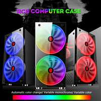 S SKYEE RGB Computer Case Double Side Tempered Glass Panels ATX Gaming Water Cooling PC Case with 2 Color Changing Fan