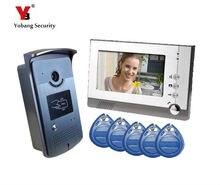 Yobang Security 7″ Video Intercom Door Phone System With1 Monitor 5 RFID Card Reader HD Doorbell Camera door bell Video Intercom