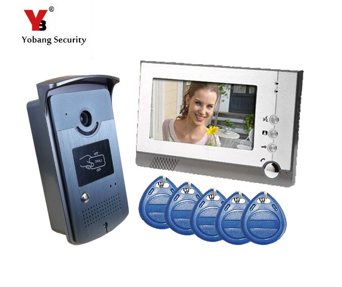 Yobang Security 7 Video Intercom Door Phone System With1 Monitor 5 RFID Card Reader HD D ...