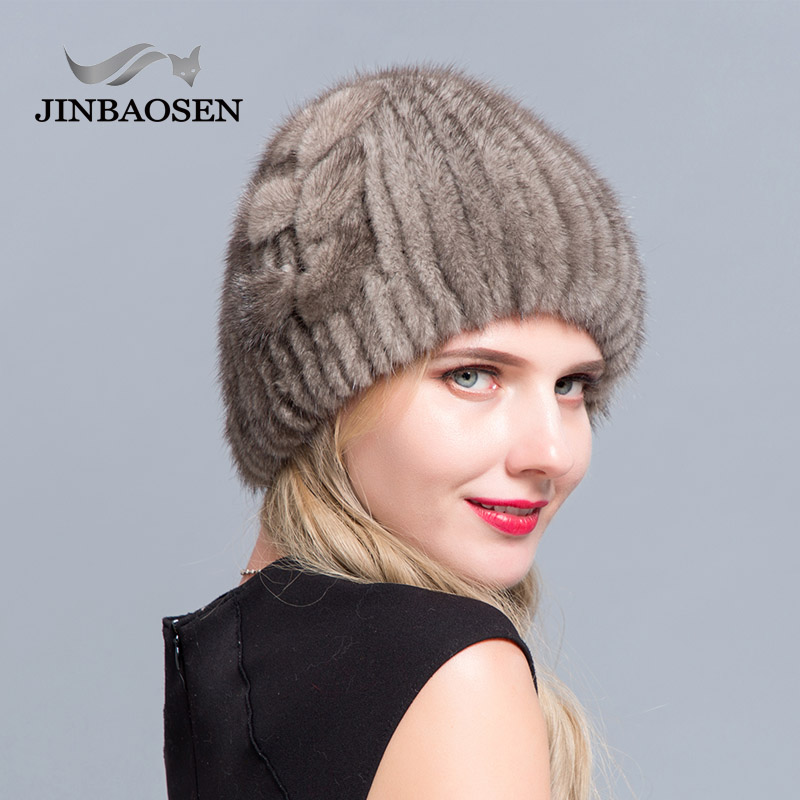 Middle aged women in the winter mink fur women's knitted sweater hat fashionable fashion European and American style ski caps