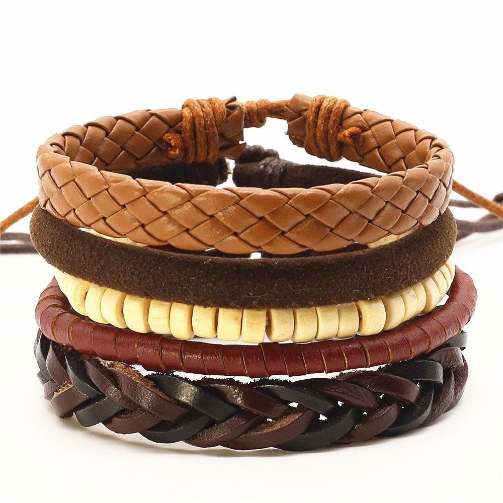 buy new punk 4 pcs set beads wing charm handmade woven men leather bracelets. Black Bedroom Furniture Sets. Home Design Ideas