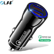 OLAF quick charge 3.0 USB Car Charger 3.1A Metal Car-Charger Mobile Phone Auto Charge 2 Port for Samsung Huawei