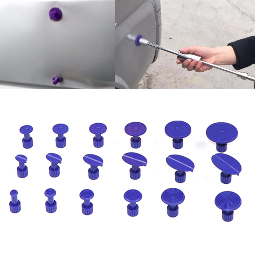 18 pièces violet voiture corps sans peinture Dent grêle outil de réparation en plastique colle extracteur onglets Pad Automobile outils de réparation ensemble