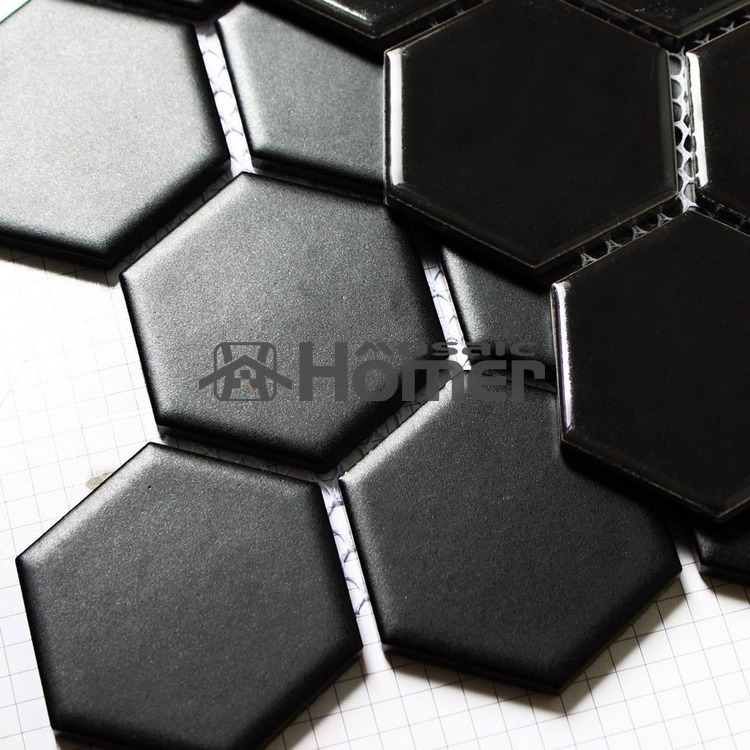 Shipping Free Hexagon Black Ceramic Mosaic Bathroom Shower Tiles Floor Mesh Backing Kitchen Tile In Wall Stickers From Home