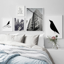 Black White Bird House Quote Wall Art Canvas Painting Nordic Posters And Prints Landscape Pictures For Living Room Decor