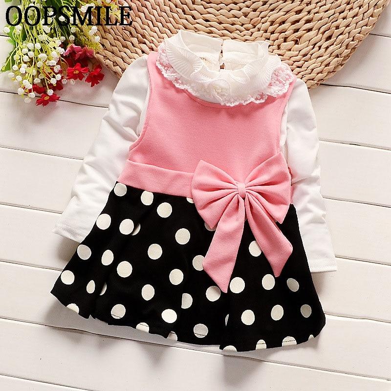 e77ab97e3271 New Cute Baby Girls Dress Cotton bow collar tops+ long Sleeve ...