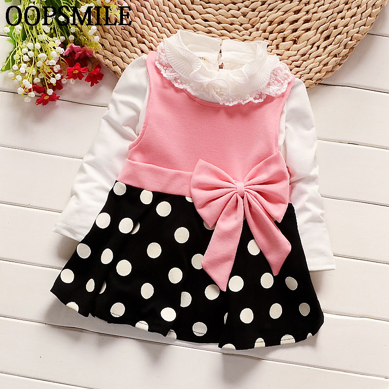 New Cute Baby Girls Dress Cotton bow collar tops+ long Sleeve Dresses Kids Clothes For 0-2 Years Baby Bowknot Polk dot dress
