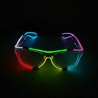 MultiColors EL Glowing Glasses Fashion Neon LED Light Up Shutter Shaped Glow Glasses For Dance DJ