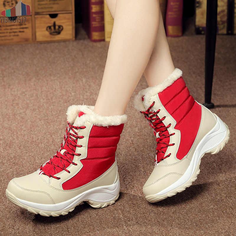 YIBING1517 Kadın Botları Su Geçirmez Kış Ayakkabı Tutmak Kar Botları Platformu Sıcak Ayak Bileği Kış Çizmeler ile Kalın Kürk Botas Mujer