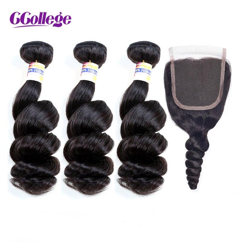 Brazilian Hair Loose Wave Bundles With Closure 100 Remy Human Hair Weave 3 Bundles With Closure