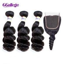 Pirkite 3 ryšulius Gaukite 1 nemokamą uždarymą CCollege Brazilijos žmogaus plaukai Laisvoji banga 3 paketai su nėrinių uždarymu Natūrali ne Remy Weave