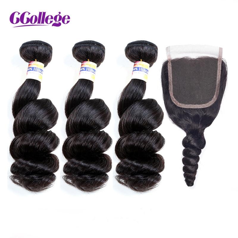Köp 3 Bundlar Få 1 Gratis Avslutning CCollege Brasilian Mänskligt - Mänskligt hår (svart)