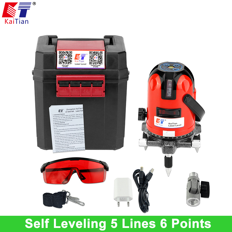 KaiTian Laser Level 5 Lines 6 Points Bracket with Slash Function and Outdoor 360 Rotary Self Leveling EU 635nM Level Laser Tools