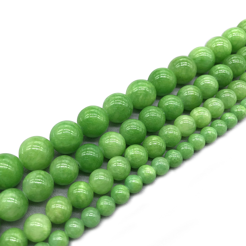 Natural Green Chalcedony 6 12mm Round Loose Mala Bead Bracelet Necklace Earrings Jewelry Making Handmade Material in Beads from Jewelry Accessories