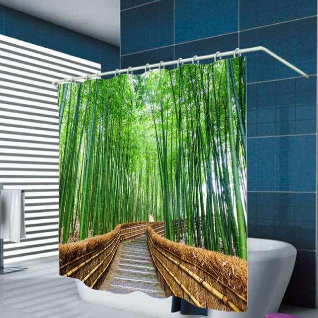 for t rideau de douche vert bambou zen motif polyester cologique tanche mildewproof rideau de. Black Bedroom Furniture Sets. Home Design Ideas