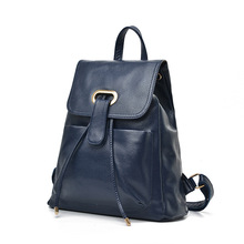 ONEFULL NEW HIGH QUALITY genuine Leather backpack women hasp Casual leisure brand Girls School Bag blue