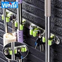 WEYUU Toilet Stainless Steel Mop Rack Umbrella Hook Wall Mount Bathroom Broom Handle Key Hook Storage Rack Bathroom Accessories