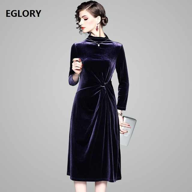 Velvet Dress 2018 Autumn Winter Party Vintage Dress High Quality Women  Stand Neck Slim Fit A f9068b3e775f