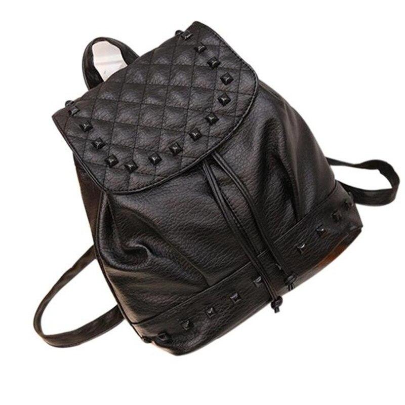 Fashion Girl Rivet Leather Backpacks Female School Bag Travel Backpack  Satchel Women Shoulder Rucksack Mochila Escolar cf239f11b3