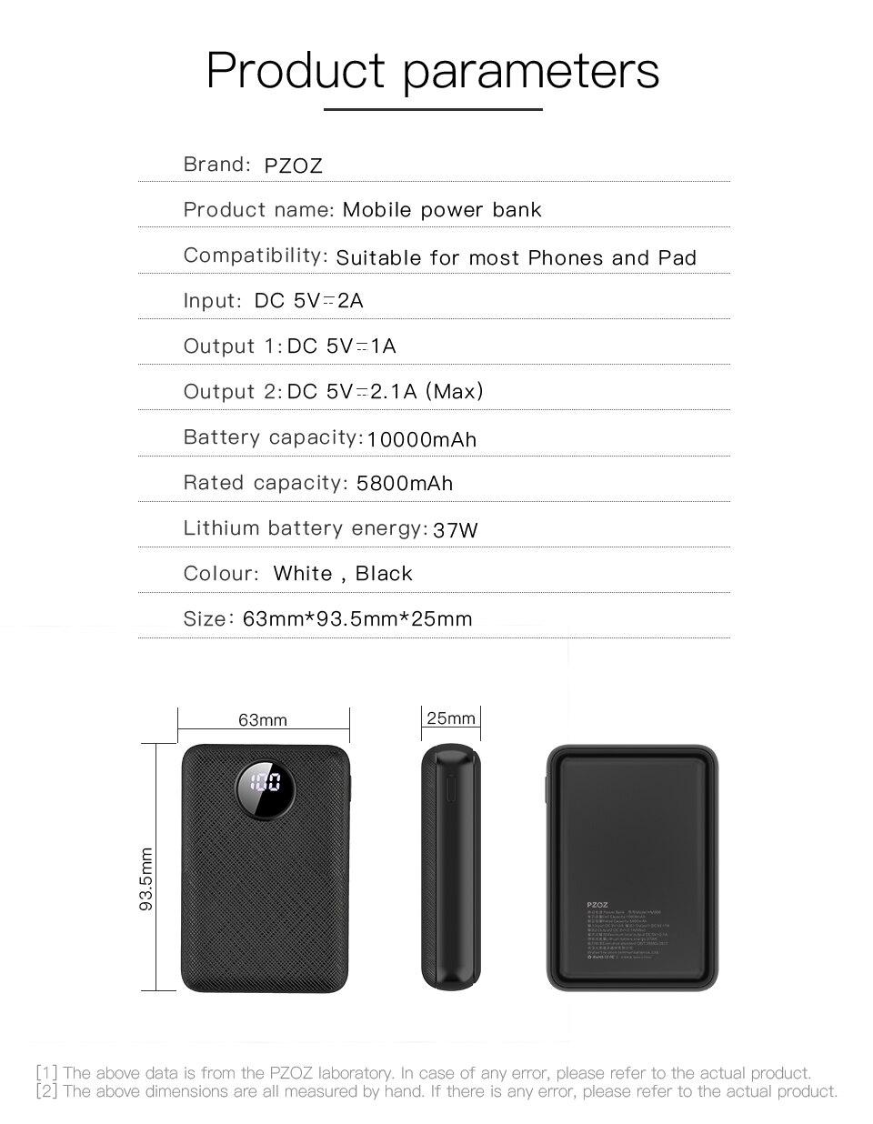 PZOZ Power Bank 10000mAh Dual USB Mobile Phone External Battery Fast Charge For iphone xiaomi mi Portable Charger mini PowerBank 14
