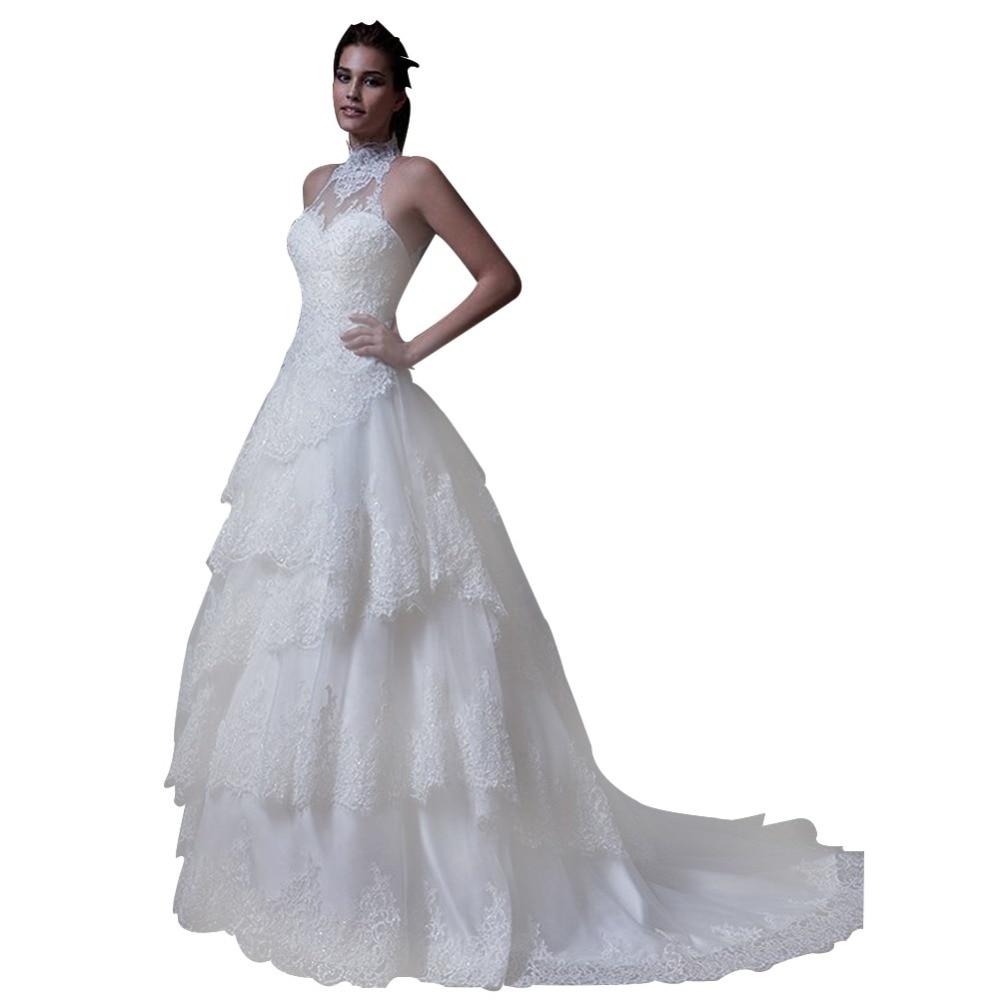 Rivini Lace Tiered Wedding Gown: ZYLLGF Bridal Elegant Ball Gown High Neck Wedding Dress