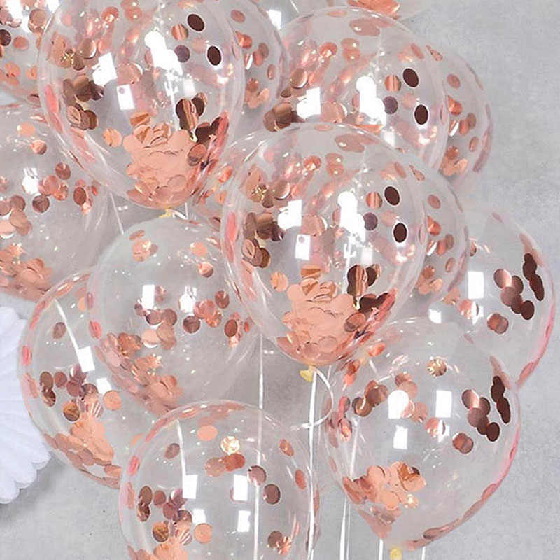 10pcs/set Rose Gold Confetti Balloons Birthday Ballons Wedding Balls For Birthday Party Decoration Kids Pink Baloons Birthday XN