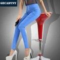 Nuevo 2017 Verano Más El Tamaño 3XL Ropa de Las Mujeres OL Lápiz Damas pantalones de Estiramiento Mediados de Cintura Elástica de Color Caramelo Pantalones Para mujeres