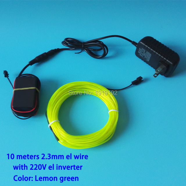 10 Colors Optional AC100-220V 2.3mm 10Meters EL wire rope flexible LED neon glowing light for House  Festival Party decorations