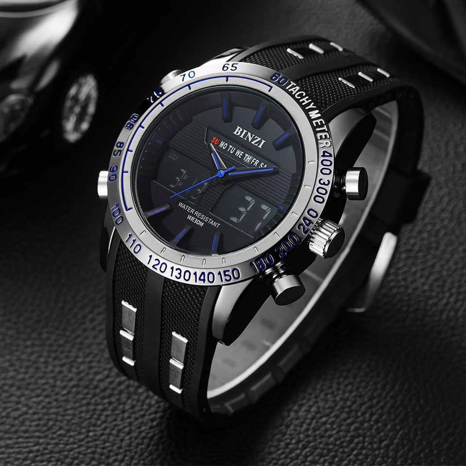 BINZI Men Watches new Sport watch Men Military Wristwatch Waterproof LED display Wrist Watch TOP BRAND LUXURY Male Clock