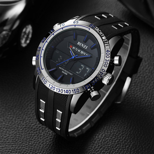 BINZI Men Watches new Sport watch Men Military Wristwatch Waterproof LED display Wrist Watch TOP BRAND LUXURY Male Clock