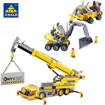 City Engineering Building Blocks Digger Excavator Crane Truck Figures Bricks Playmobil Brinquedos Educational Toys for Children 614pcs city engineering excavator construction building blocks sets figures diy bricks creative educational toys for children