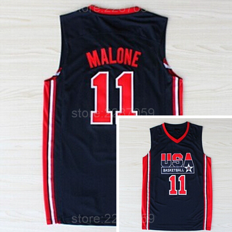 Ediwallen American 11 Karl Malone Jersey Dream Team One 1992 USA Basketball Jerseys Malone Uniforms Sports Embroidery And Sewing