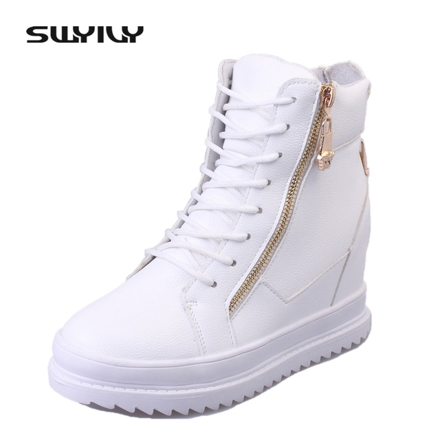 SWYIVY Women Sneaker White High Top Canvas Shoes Wedge Platform Sneakers  Women Winter summer Sneakers 8dc9b0451