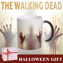 Lekoch The Walking Dead Color Change Ceramic Coffee Mug  and Cup Fashion Gift Heat Reveal Magic Zombie Mugs for Halloween Day