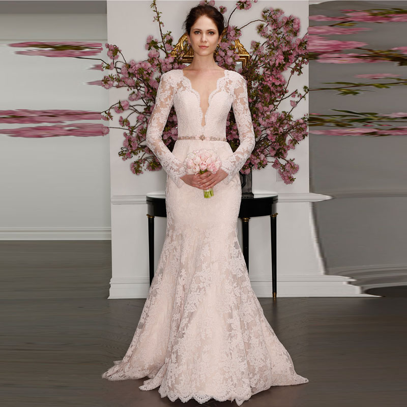 2016 New Full Lace Long Sleeves Wedding Dress Y Open Back Deep V Neck Dusty Pink Bridal Gowns With Beaded Sashes Custom Made In Dresses From