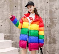 New Parka Winter Jacket Women Chaqueta Mujer Abrigos Mujer Invierno 2018 Space Cotton Coat Loose Striped Rainbow Outwear