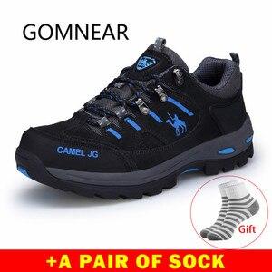 Image 1 - GOMNEAR Zapatillas de senderismo para hombre, zapatos de Trekking y pesca al aire libre, impermeables, para turismo, deportes de acampada, caza, botas de cuero