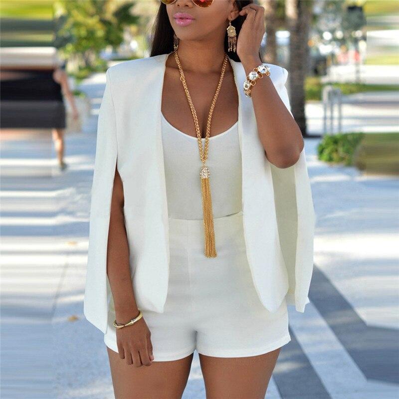 Women's Clothing New Ladies Women Long Sleeve Lapel Cape Poncho Office Jacket Cloak Blazer Suit Coat Suits & Sets