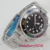 Freies Verschiffen 40mm klassische schwarz zifferblatt GMT Bliger leucht makrs Automatische bewegung Mechanische Uhren Saphir herren uhr-in Mechanische Uhren aus Uhren bei