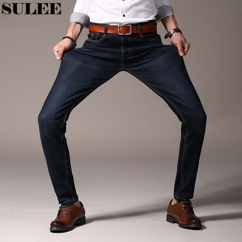 SULEE Brand Autumn New Stretch Cotton Breathable Straight Fit Jeans Men  Men's Denim Jeans Long Pants Thick Warm Jeans sulee brand 2017 new fashion business men jeans cotton denim jeans casual straight washed pants stretch jeans plus size 28 40