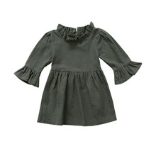Toddler Kid Baby Girls Dress Clothes Autumn Girl Clothing Three Quarter Solid Army Green Ruffle Sleeve Turtleneck Dress(China)
